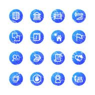 blue grunge building icons