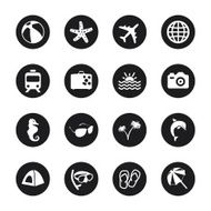Travel and Vacation Icons Set 1 - Black Circle Series