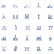 Famous Place Icon Set