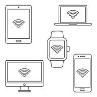 Modern digital devices icons Vector