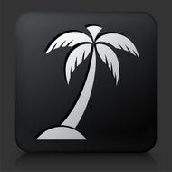 Black Square Button with Palm Tree Icon