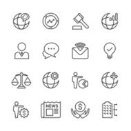 Line Globe Business Icon Set N2
