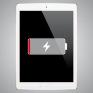 Digital Tablet Low Battery Vector