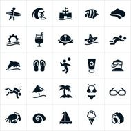 Black Beach and Recreation Icons