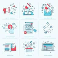 Set of flat line icons for marketing