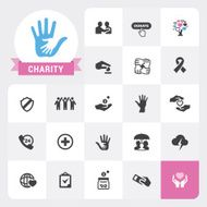 Charity icons and label vector pack N2