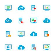Flat hosting server database network and cloud computing icons