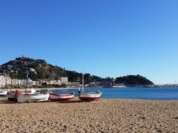 boats on the beach of the Mediterranean on the Costa Brava