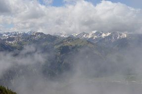 clouds in alpine mountains panorama