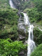 waterfall in the annapurna mountain range