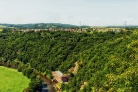 panoramic view of a river in the countryside in Germany