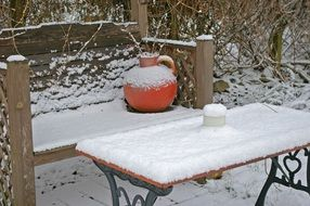 bench and table in the winter garden