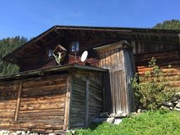 old wooden hut in the Alps
