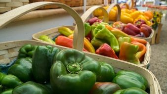 colorful peppers in baskets at a farmers market
