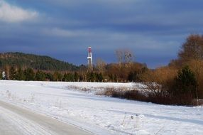 oil rig station in winter