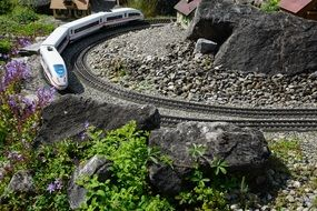 rocks on a miniature railway