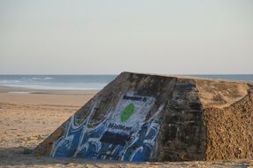 graffiti on a bunker on the beach