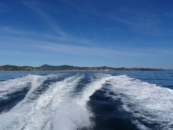 sea waves from the boat in saint tropez