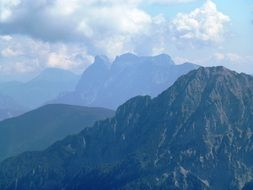 panorama of mountain peaks in the Alps