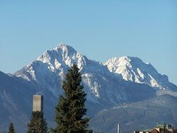 snow capped staufen mountain at winter, austria
