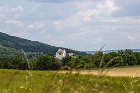 medieval castle on a green hill background in Aargau, Switzerland