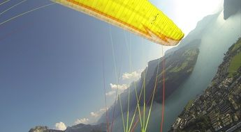 yellow paragliding wings