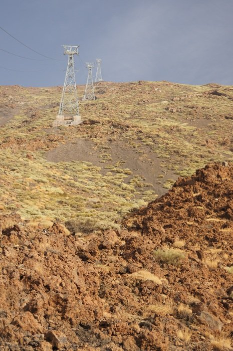 cable way on side of teide volcano, spain, canary islands, tenerife