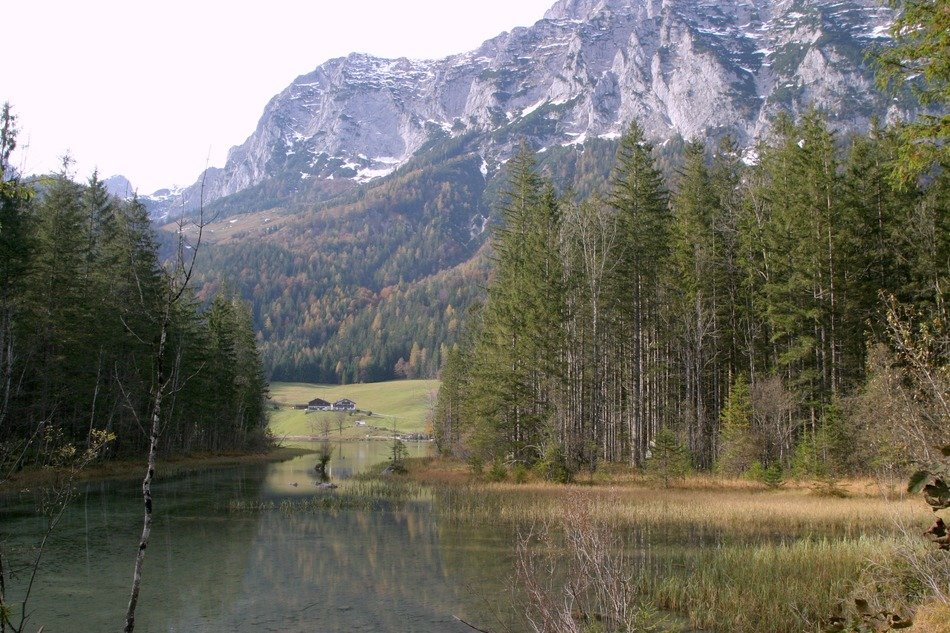 view from the lake on the mountains in the Berchtesgaden National Park