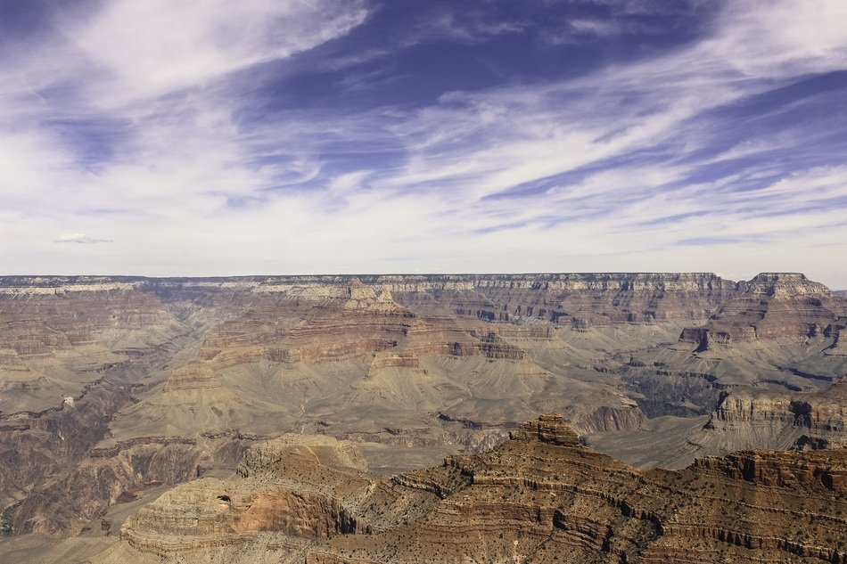 scenic rocks of grand canyon beneath cirrus clouds, usa, nevada