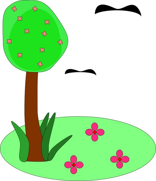 spring green tree drawing