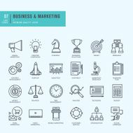 Thin line icons set Icons for business digital marketing
