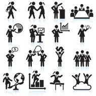 Global Businesswoman Team Presentation black and white vector icon set