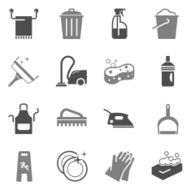 Cleaning Icons Gray Color