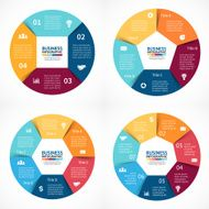 Vector circle infographics set Template for cycle diagram graph presentation