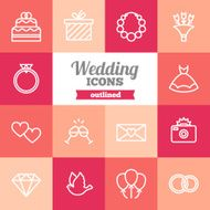Set of flat outlined wedding icons