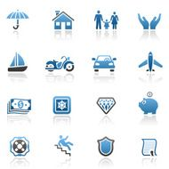 Blue Insurance Icon Set