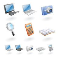 Information Icons of Computer Laptop Camera Magnifying Glass Calculator Book