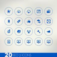 Thin simple SEO 2 blue icons on light background
