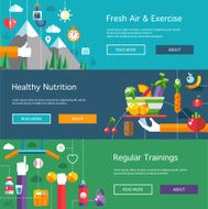 Set of flat design sport fitness and healthy lifestyle composit