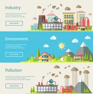 Set of modern flat design conceptual ecological illustrations