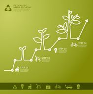 Green economy concept Leafs and tree infogaphics