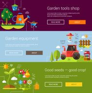 Set of modern flat design farm and agriculture icons elements