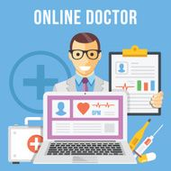 Online doctor flat illustration concept