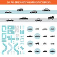 Car transportation infographic elements and icons set