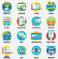 Web analytics information development website statistic and business flat icons