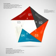 Pentagon origami infographic light