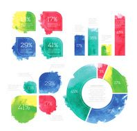 Vector Watercolor Infographic Set