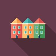 Colorful townhouses flat square icon with long shadows