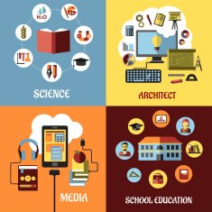 Educational concept designs in flat style N2