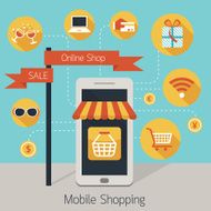 Mobile Smartphone Online Shop with Icons